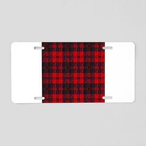 Dark Red Tartan Aluminum License Plate