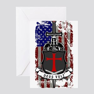 AMERICAN KNIGHT GOD WILLS IT Greeting Cards