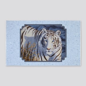 White Tiger with Blue Eyes Area Rug