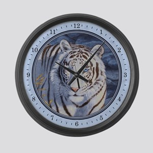 White Tiger With Blue Eyes Large Wall Clock