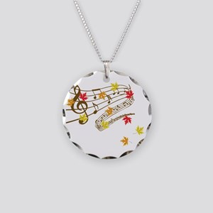 Music and autumn leaves Necklace Circle Charm