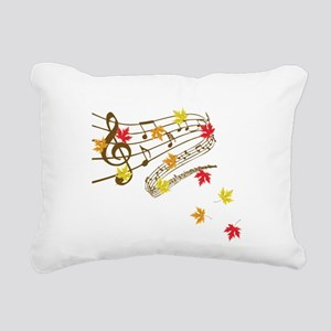 Music and autumn leaves Rectangular Canvas Pillow