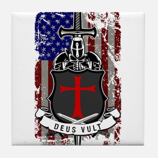 AMERICAN KNIGHT GOD WILLS IT Tile Coaster