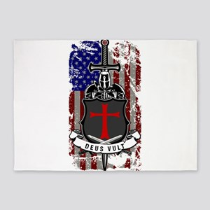 AMERICAN KNIGHT GOD WILLS IT 5'x7'Area Rug
