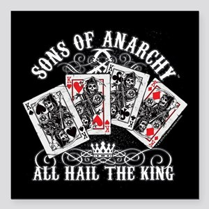 "SOA All Hail the King Square Car Magnet 3"" x 3"""