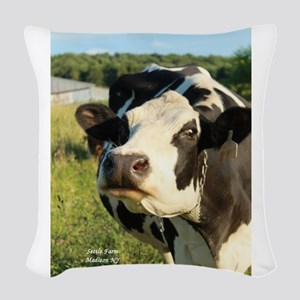 curious cow, 2 Woven Throw Pillow