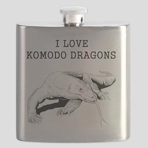 I Love Komodo Dragons Flask