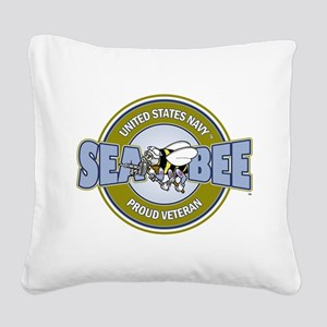 Navy SeaBee Square Canvas Pillow