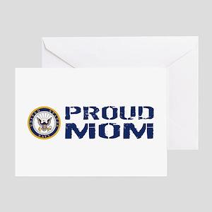 U.S. Navy: Proud Mom (Blue & White) Greeting Card