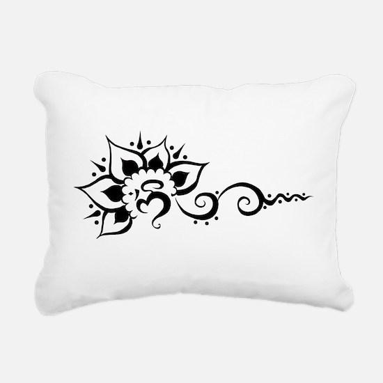 Rising Om - Black Rectangular Canvas Pillow