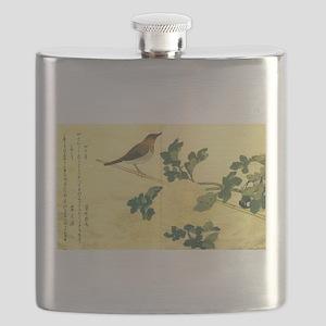 Great Tits - Ukiyo-e by Utamaro Flask