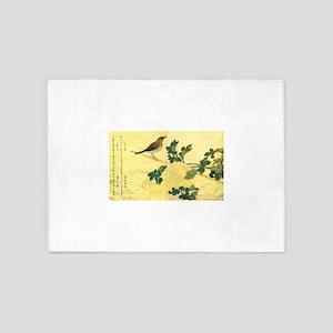 Great Tits - Ukiyo-e by Utamaro 5'x7'Area Rug