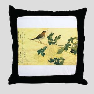 Great Tits - Ukiyo-e by Utamaro Throw Pillow
