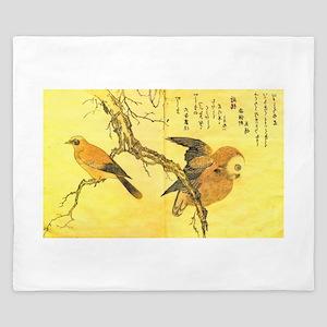 Owl and Jay - Kitagawa Utamaro King Duvet