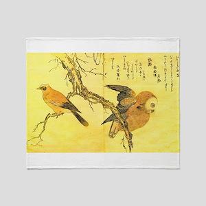 Owl and Jay - Kitagawa Utamaro Throw Blanket