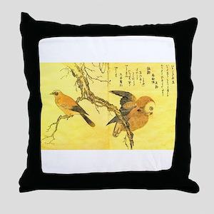 Owl and Jay - Kitagawa Utamaro Throw Pillow