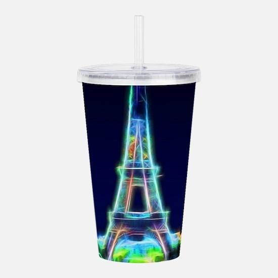 Glowing Eiffel Tower, Acrylic Double-wall Tumbler