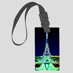 Glowing Eiffel Tower, Paris, Fra Large Luggage Tag