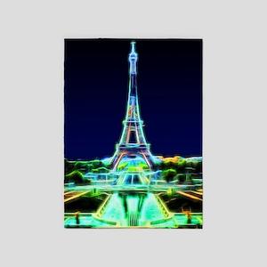 Glowing Eiffel Tower, Paris, France 5'x7'Area Rug