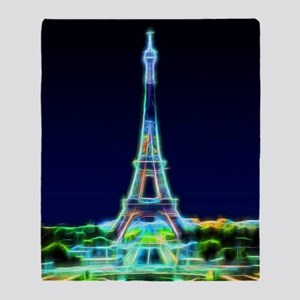 Glowing Eiffel Tower, Paris, France Throw Blanket