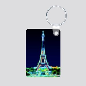 Glowing Eiffel Tower, Pari Aluminum Photo Keychain