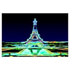 Glowing Eiffel Tower, Paris, France Wall Art Poster
