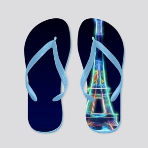 Glowing Eiffel Tower, Paris, France Flip Flops