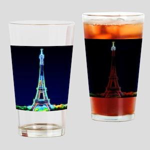 Glowing Eiffel Tower, Paris, France Drinking Glass