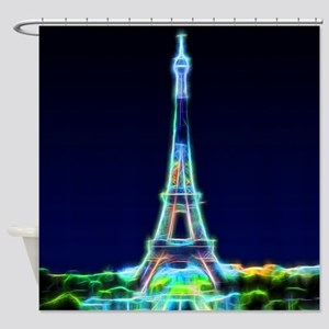 Glowing Eiffel Tower, Paris, France Shower Curtain