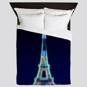 Glowing Eiffel Tower, Paris, France Queen Duvet