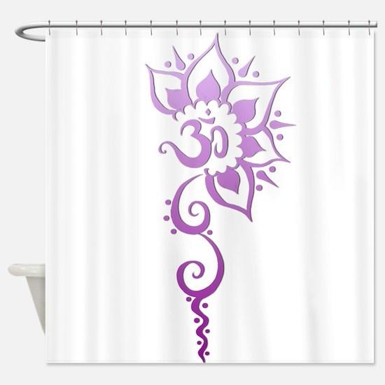 Rising Om - Purple Fade Shower Curtain