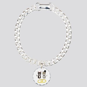 Wedding Cats with Rings Charm Bracelet, One Charm
