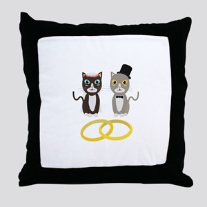 Wedding Cats with Rings Throw Pillow
