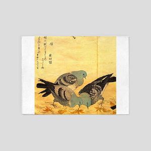 Rock Doves by Utamaro 5'x7'Area Rug