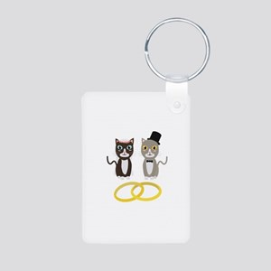 Wedding Cats with Rings Keychains