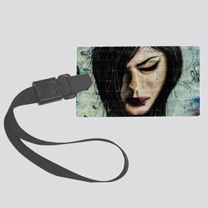 brown haired girl graffiti Large Luggage Tag
