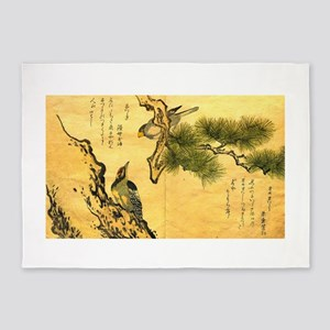 Woodpecker and Grossbeak by Utamaro 5'x7'Area Rug
