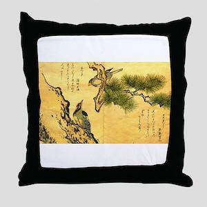 Woodpecker and Grossbeak by Utamaro Throw Pillow
