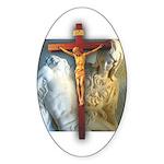 Crucifix/Pieta Oval Sticker