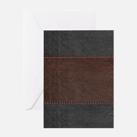 Brow And Black Vintage Leather Look Greeting Cards