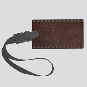 Brow And Black Vintage Leather L Large Luggage Tag