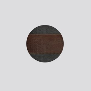 Brow And Black Vintage Leather Look Mini Button