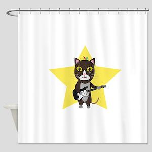 Rock Music Cat Shower Curtain