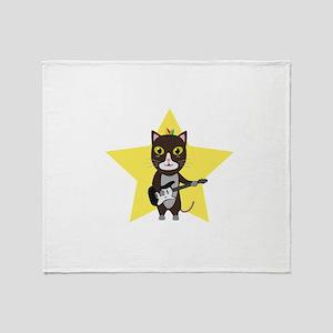 Rock-Music Cat Throw Blanket