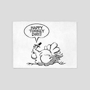Happy Turkey Day Thanksgiving 5'x7'Area Rug