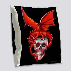 Skull Drangonry Burlap Throw Pillow