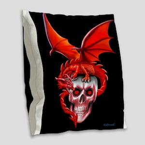 Skull Drangonry Burlap Throw Pillow