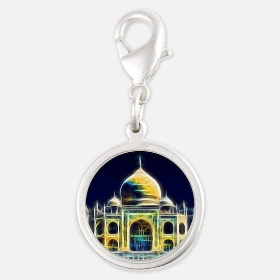 Taj Mahal, Agra, India Silver Round Charm