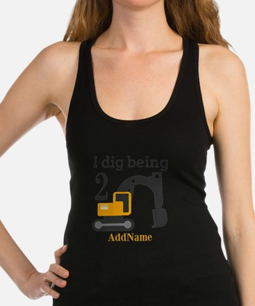 I Dig being 2 Construction Birthday Racerback Tank