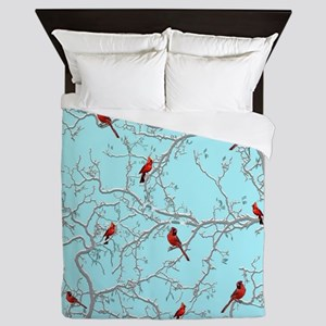 Cardinals on blue Queen Duvet